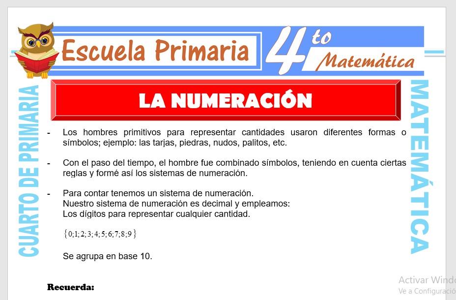 Ficha de La Numeración para Cuarto de Primaria