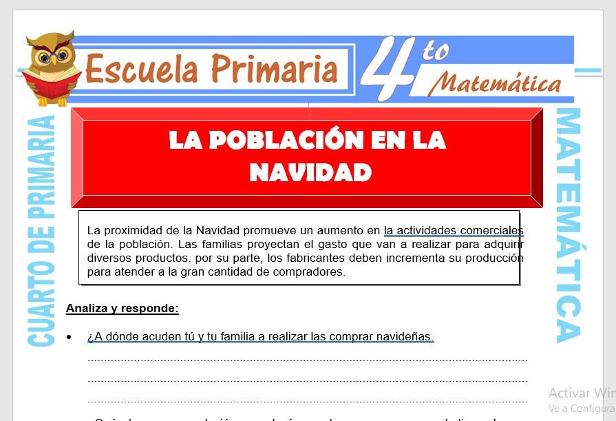 Ficha de La Población en la Navidad para Cuarto de Primaria