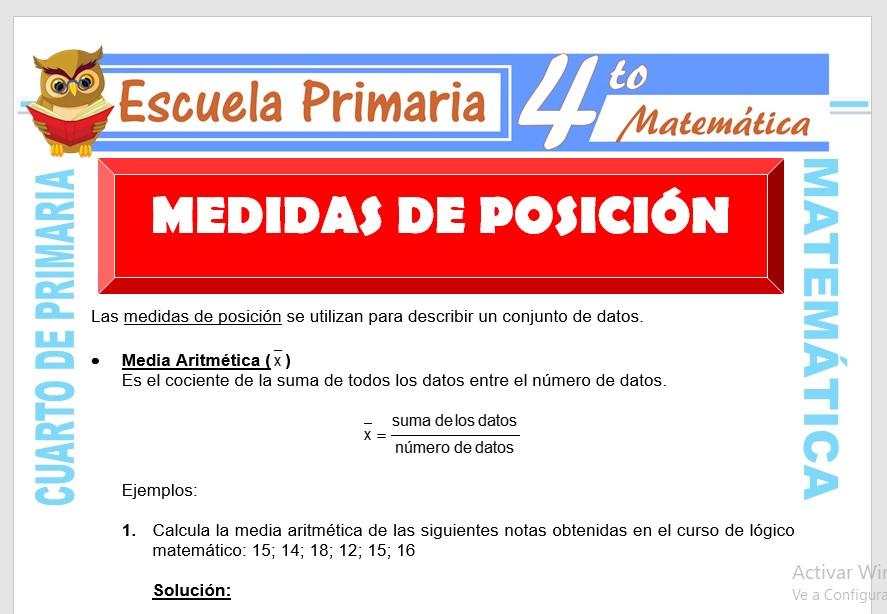Ficha de Medidas de Posición para Cuarto de Primaria