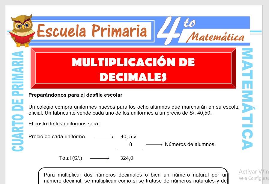 Ficha de Multiplicación de Números Decimales para Cuarto de Primaria