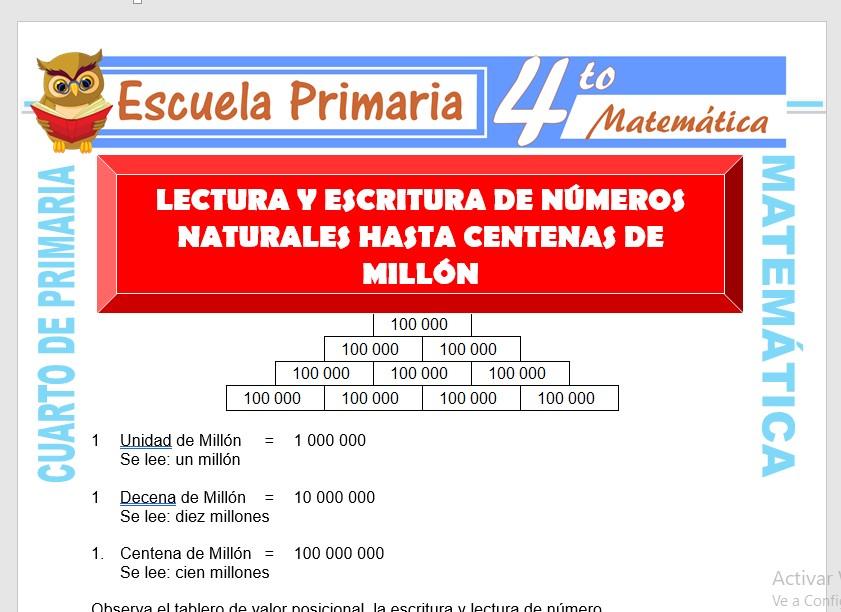 Ficha de Numeros Hasta Centena de Millón para Cuarto de Primaria