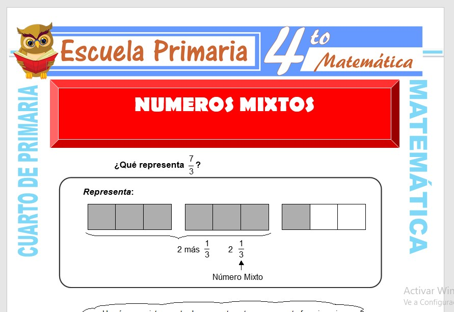 Ficha de Numeros Mixtos para Cuarto de Primaria