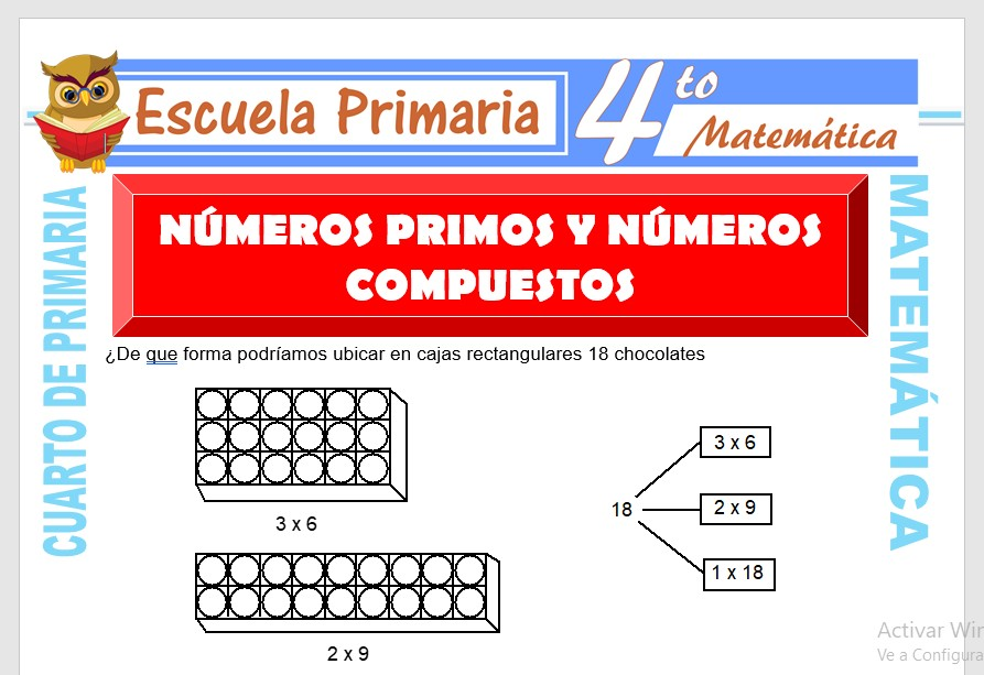 Ficha de Numeros primos y Numeros Compuestos para Cuarto de Primaria