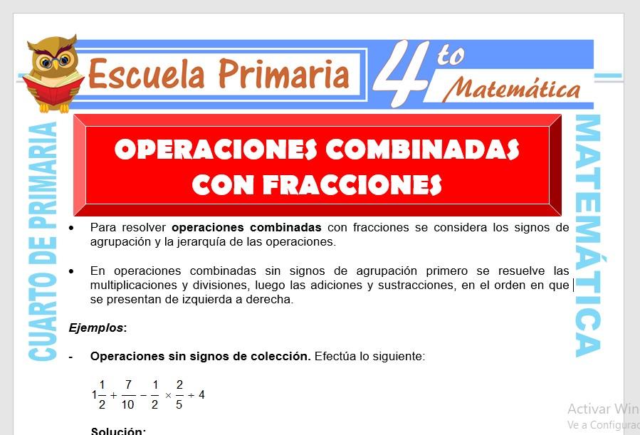 Operaciones Combinadas con Fracciones para Cuarto de ...
