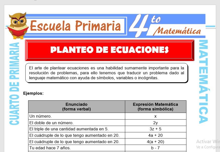 Planteo de Ecuaciones para Cuarto de Primaria – Escuela Primaria