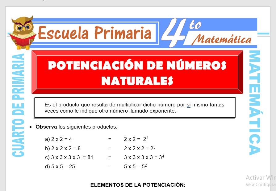 Ficha de Potenciación de Números Naturales para Cuarto de Primaria