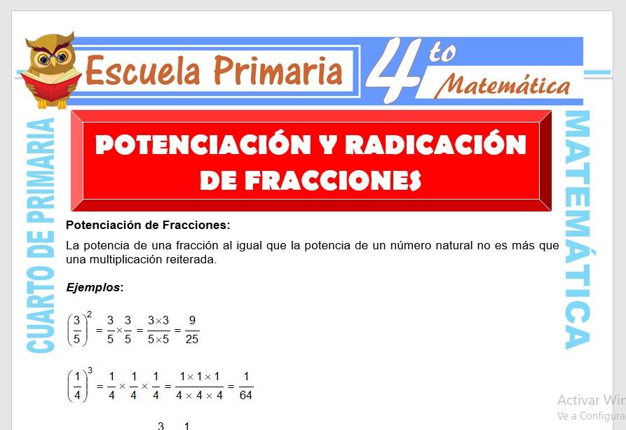 Ficha de Potenciación y Radicación de Fracciones para Cuarto de Primaria