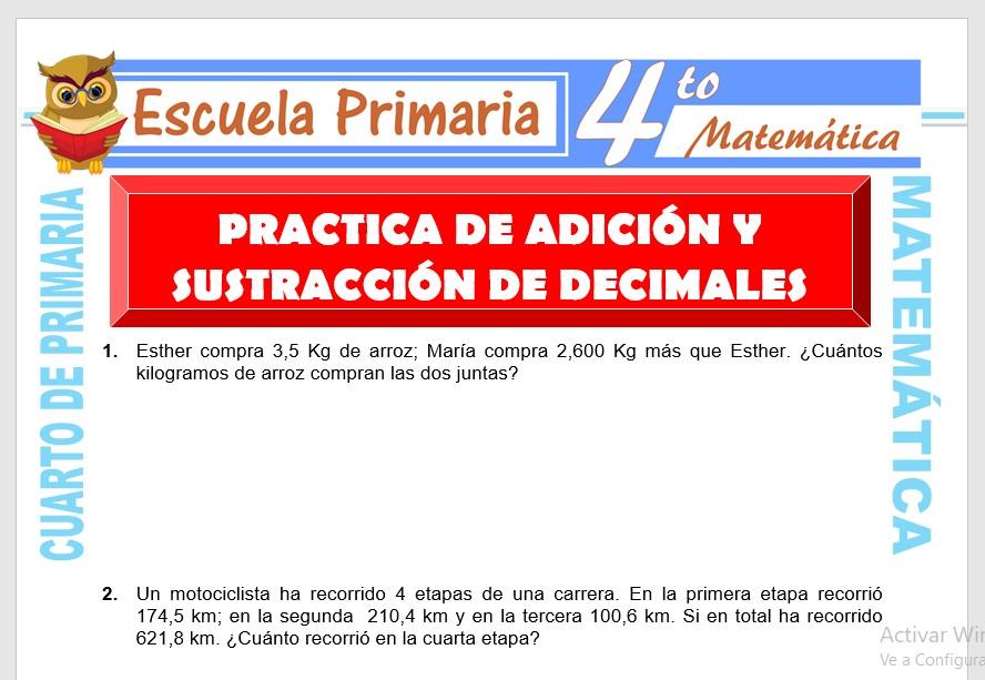 Ficha de Practica de Adición y Sustracción para Cuarto de Primaria