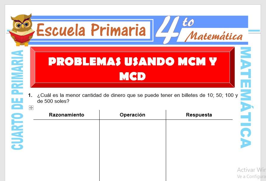 Ficha de Problemas Usando MCM Y MCD para Cuarto de Primaria