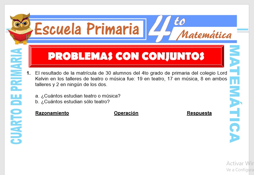 Problemas con Conjuntos para Cuarto de Primaria – Escuela ...