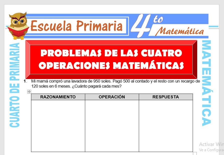 Ficha de Problemas de Cuatro Operaciones para Cuarto de Primaria