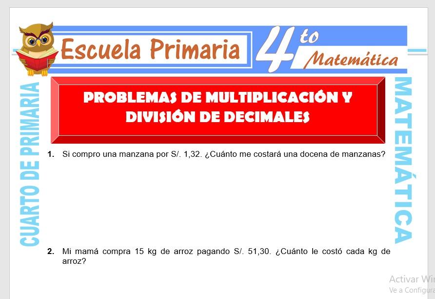 Problemas de Multiplicación y División de Decimales para ...