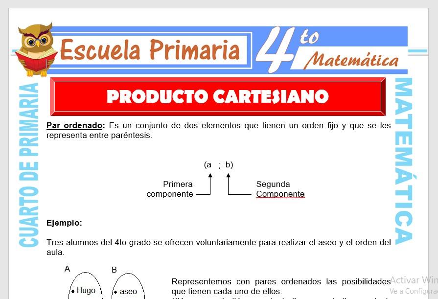 Ficha de Producto Cartesiano para Cuarto de Primaria