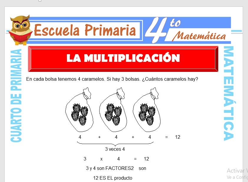 Ficha de La Multiplicación para Cuarto de Primaria
