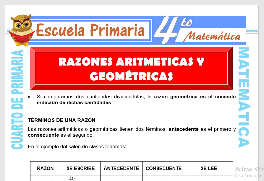 Ficha de Razones Aritméticas y Geométricas para Cuarto de Primaria