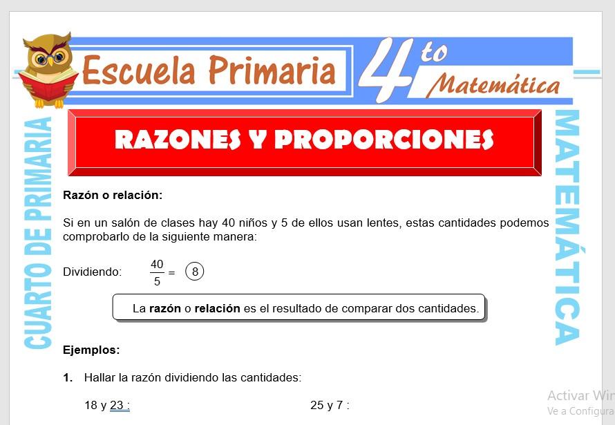 Ficha de Razones Y Proporciones para Cuarto de Primaria