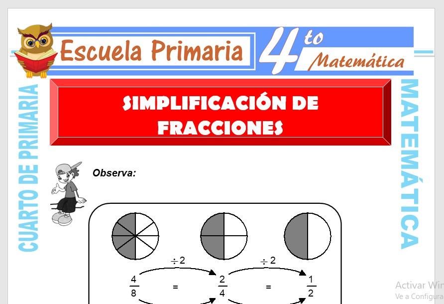 Ficha de Simplificación de Fracciones para Cuarto de Primaria
