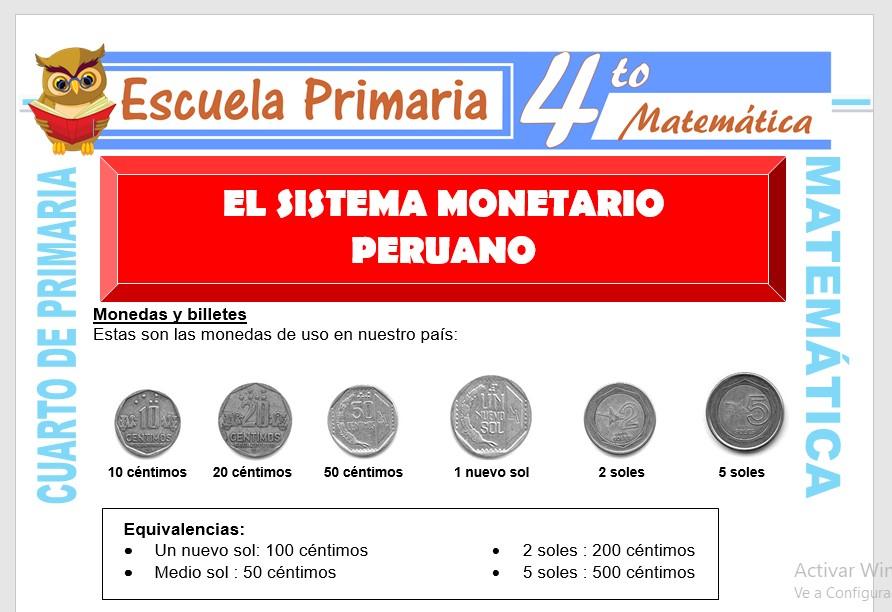 Ficha de Sistema Monetario Peruano para Cuarto de Primaria