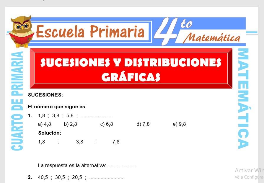 Ficha de Sucesiones y Distribuciones Gráficas para Cuarto de Primaria