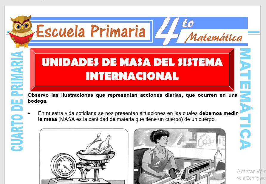 Ficha de Unidades de Masa del Sistema Internacional para Cuarto de Primaria