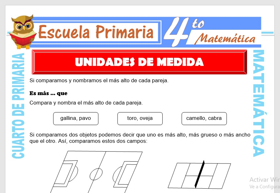Ficha de Unidades de Medida para Cuarto de Primaria