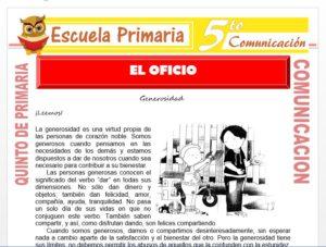 Modelo de la Ficha de El Oficio para Quinto de Primaria