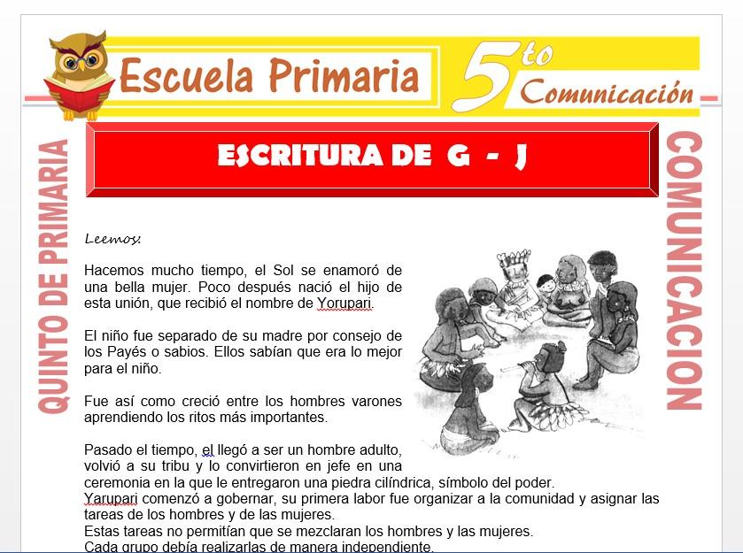 Modelo de la Ficha de Escritura de G y J para Quinto de Primaria