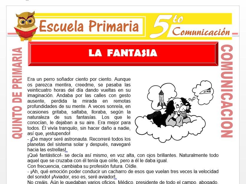 Modelo de la Ficha de La Fantasia para Quinto de Primaria