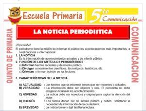 Modelo de la Ficha de La Noticia Periodística para Quinto de Primaria
