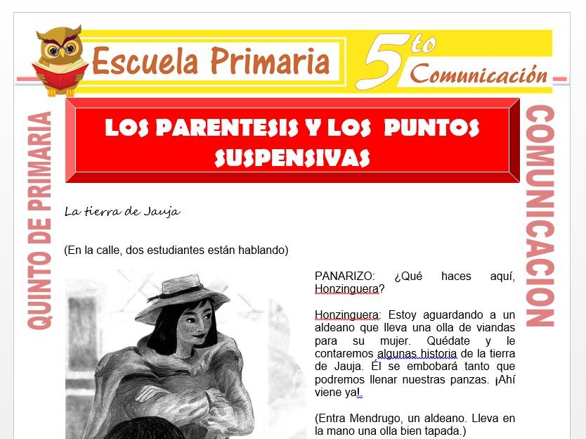 Modelo de la Ficha de Los Paréntesis y Los Puntos Suspensivos para Quinto de Primaria