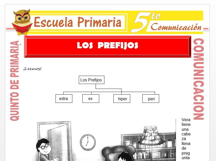 Modelo de la Ficha de Los Prefijos para Quinto de Primaria