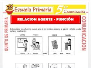 Modelo de la Ficha de Relación Agente Función para Quinto de Primaria