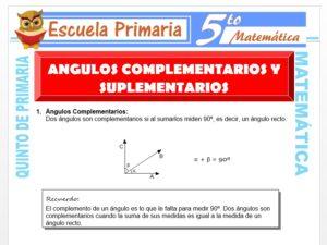 Modelo de la Ficha de Ángulos Complementarios y Suplementarios para Quinto de Primaria