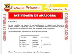 Modelo de la Ficha de Actividades de Analogías para Quinto de Primaria