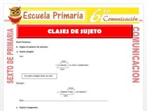 Modelo de la Ficha de Actividades de Clases de Sujeto para Sexto de Primaria