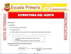 Modelo de la Ficha de Accidentes de Estructura del Sujeto para Sexto de Primaria