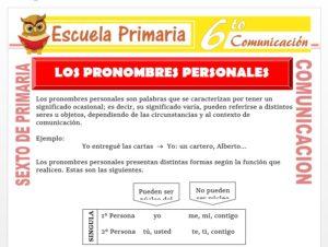 Modelo de la Ficha de Actividades de Pronombres Personales para Sexto de Primaria