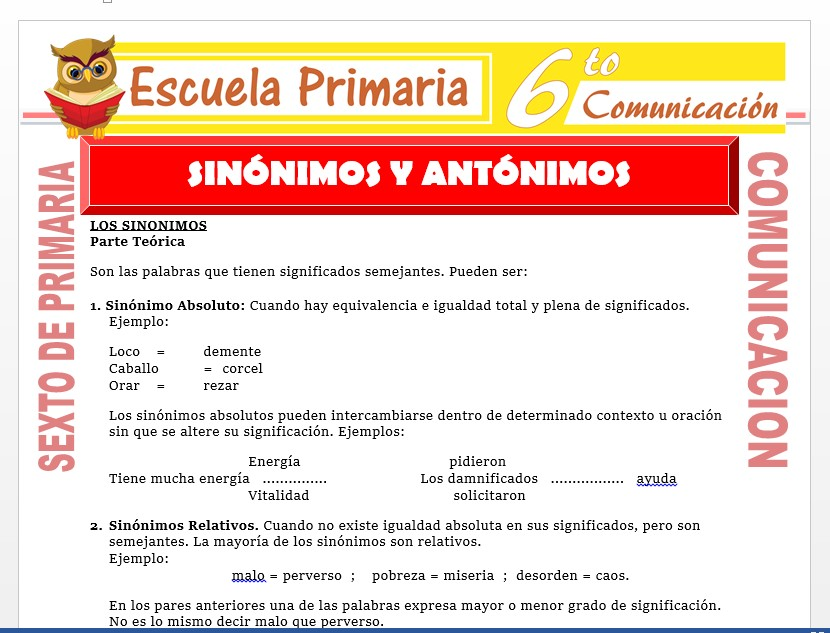 Modelo de la Ficha de Actividades de Sinónimos y Antónimos para Sexto de Primaria