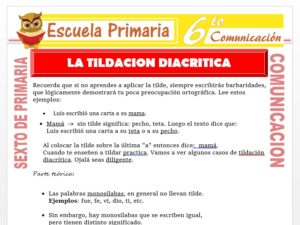 Modelo de la Ficha de Actividades de la Tilde Diacritica para Sexto de Primaria
