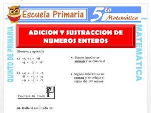 Modelo de la Ficha de Adición y Sustracción de Números Enteros para Quinto de Primaria