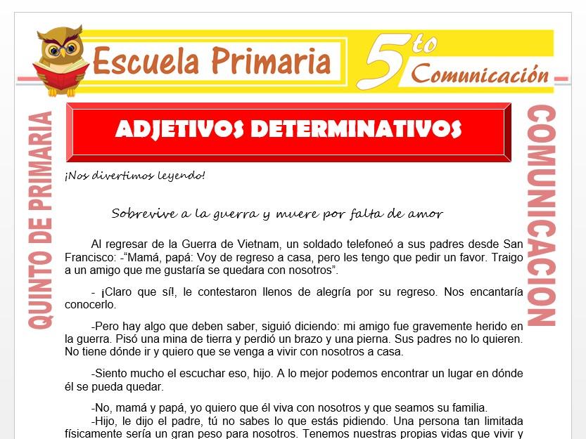 Modelo de la Ficha de Adjetivos Determinativos para Quinto de Primaria