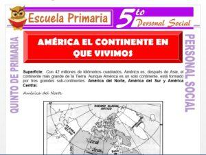 Modelo de la Ficha de America el Continente en que Vivimos para Quinto de Primaria
