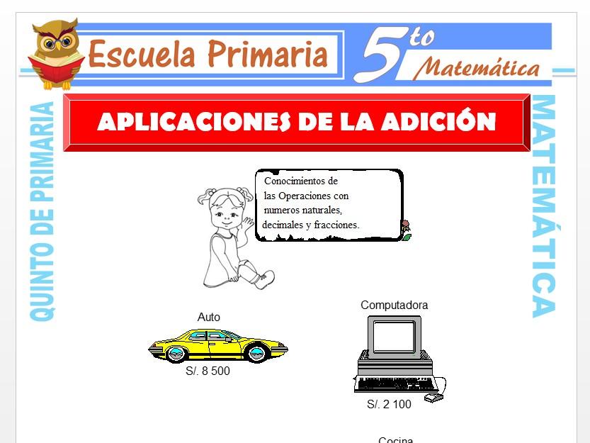 Modelo de la Ficha de Aplicaciones de la Adición para Quinto de Primaria