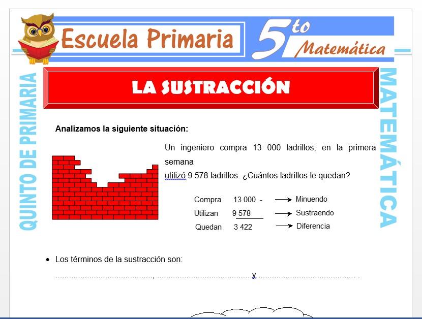 Modelo de la Ficha de Aplicaciones de la Sustracción para Quinto de Primaria
