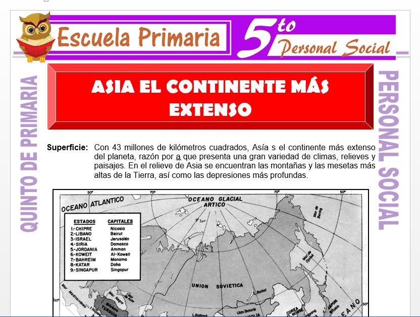 Modelo de la Ficha de Asia el Continente más Extenso para Quinto de Primaria