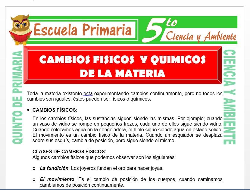 Modelo de la Ficha de Cambio Físicos y Químicos de la Materia para Quinto de Primaria