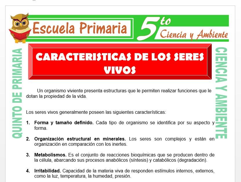 Modelo de la Ficha de Características de los Seres Vivos para Quinto de Primaria