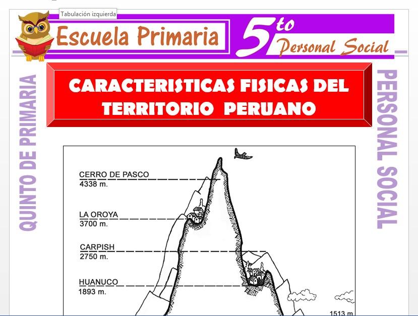 Modelo de la Ficha de Características Físicas del Territorio Peruano para Quinto de Primaria