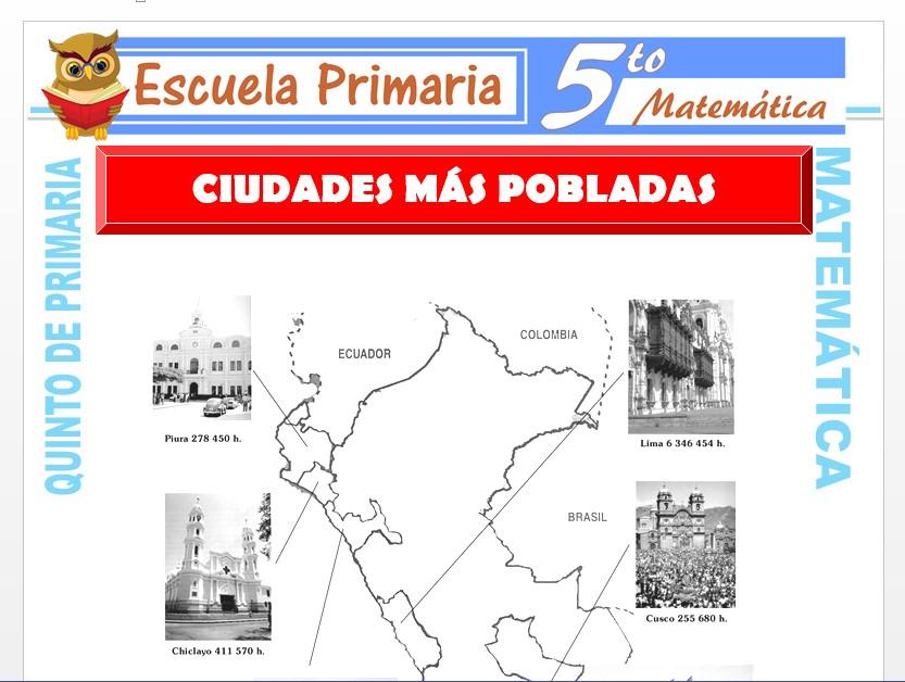 Modelo de la Ficha de Ciudades más Pobladas para Quinto de Primaria