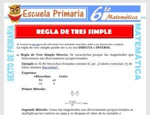 Modelo de la Ficha de Clases de Regla de Tres Simple para Sexto de Primaria